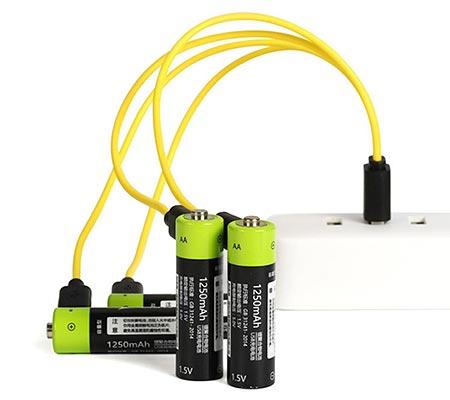 Аккумуляторная пальчиковая батарейка АА с подзарядкой USB